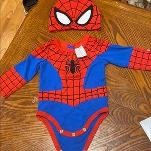 Baby boy's Spider-Man onesie and beenie